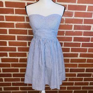 B. Smart Blue Seersucker Strapless Mini Dress
